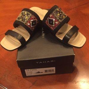 Tahari black jeweled sandals.  Sz 7 1/2
